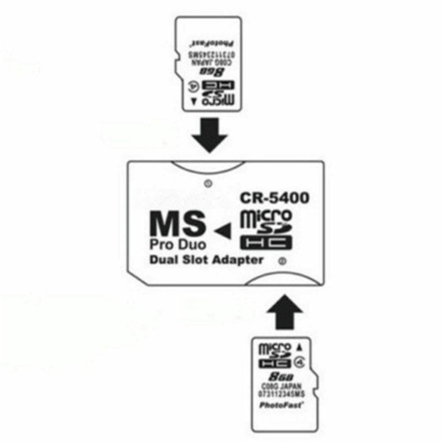 Dual Micro SD TF To Memory Stick MS Pro Duo PSP Card 2 Slot Adapter Converter S