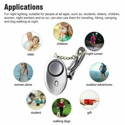 Safe Sound Personal Alarm Keychain With LED Light 140DB Emergency Women Defense