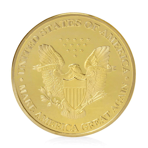 Donald Trump President OFFICIAL GOLD Dollar Commemorative Challenge Eagle Coin