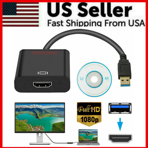 HD 1080P USB 3.0 to HDMI Video Cable Adapter For PC Laptop HDTV LCD TV Converter