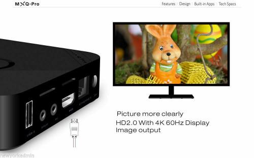 MXQ Pro 4K Ultra HD 64Bit Wifi Android 7.1 Quad Core Smart TV Box Media Player