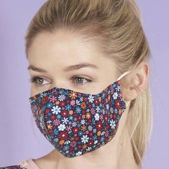 Black Floral Face Mask
