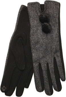 Herringbone Pom Pom Gloves - Black