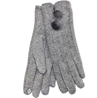 Herringbone Pom Pom Gloves - Grey