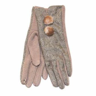 Herringbone Pom Pom Gloves - Beige
