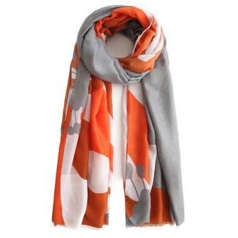 Floral Scarf - Orange/Grey