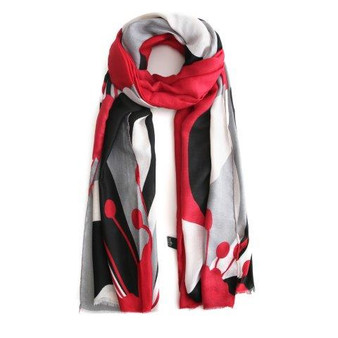 Floral Scarf - Black Red White
