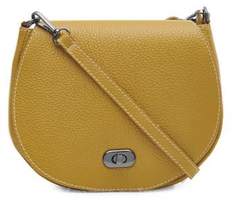 Small Leather Cross Body Bag - Mustard