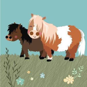 Shetland Ponys Birthday Card by Pink Pig