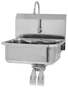 SANI-LAV Model 505L Small Bowl Wall-Mount Stainless Knee-Operated Gooseneck Faucet
