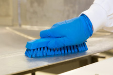 Vikan 3587 Small Hand Brush Soft Bristles in Action