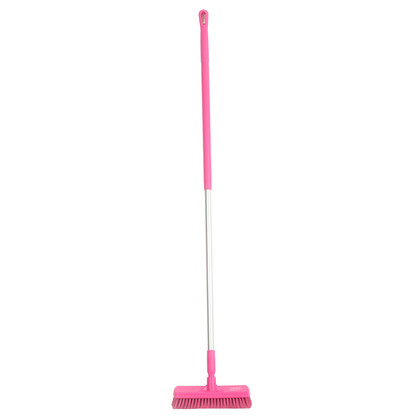 "Vikan 7060 12"" Floor Scrub with 60"" Color-Coded Aluminum Handle in Pink"