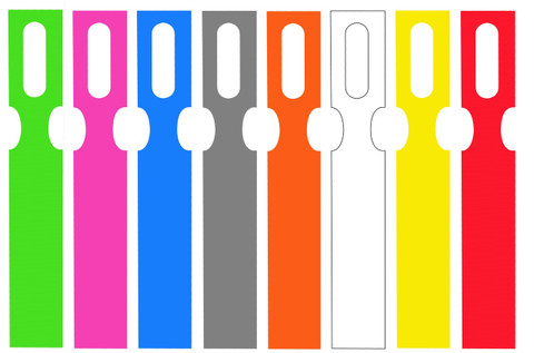 Metal Detectable, Color-Coded Key Hole Tags in 8 Colors
