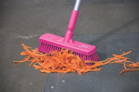 """12"""" Floor Scrub Stiff Bristle w/ 60"""" Color-Coded Aluminum Handle in Pink"""