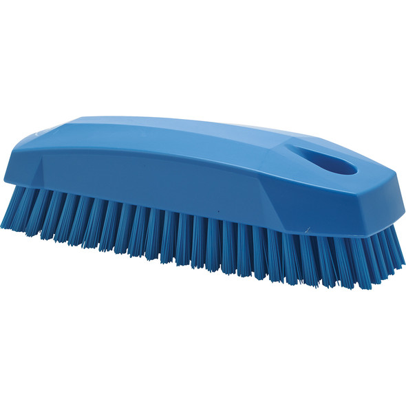 "Vikan 6440 5"" Small Hand and Nail Brush in Blue (Side View)"