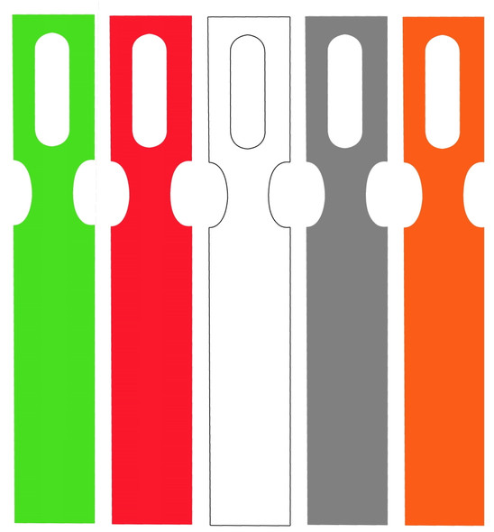 Metal Detectable, Color-Coded Key Hole Tags in 5 Colors