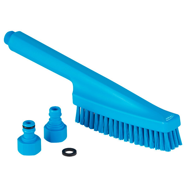Vikan 7057 Waterfed Hand Brush in Blue (Front View)