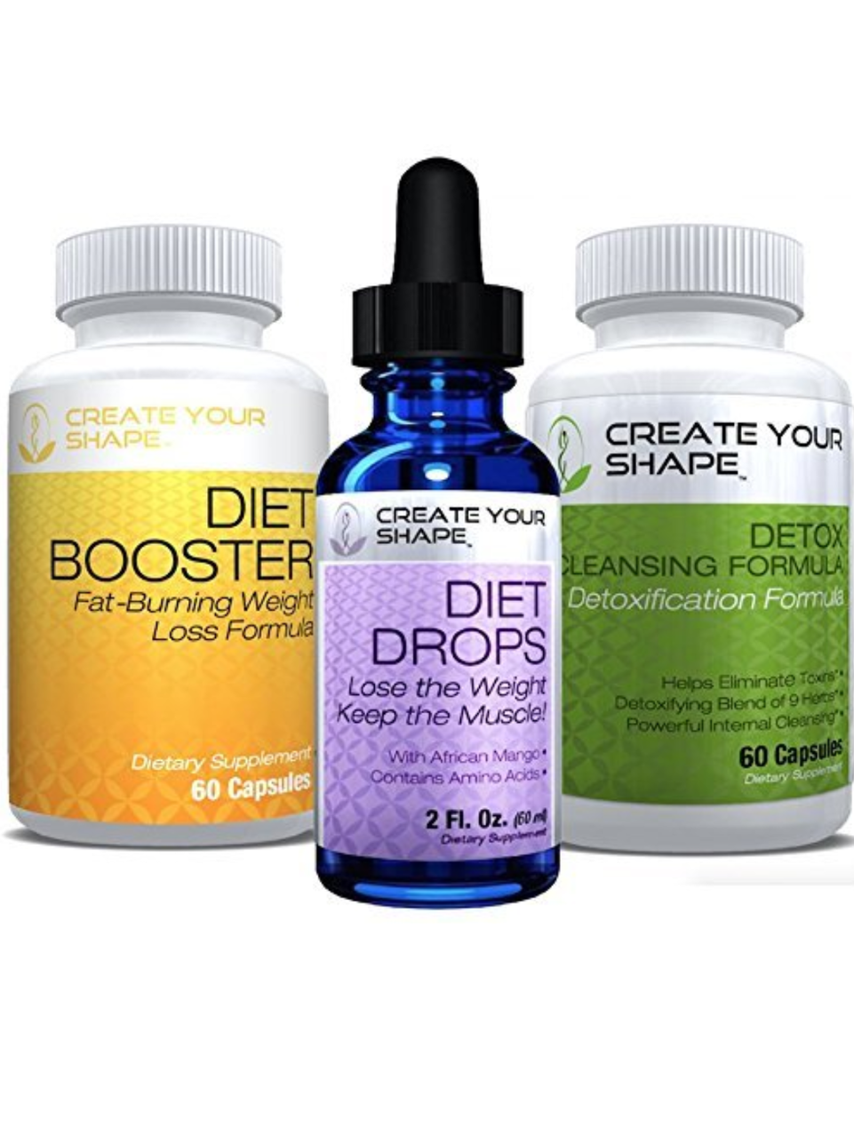 Diet Booster Diet Pills + Detox Cleanse + Diet Drops - 3 Pack - Lose Weight  - Amino Acids - Appetite Suppressant - Lose Belly Fat - Weight Loss Pills