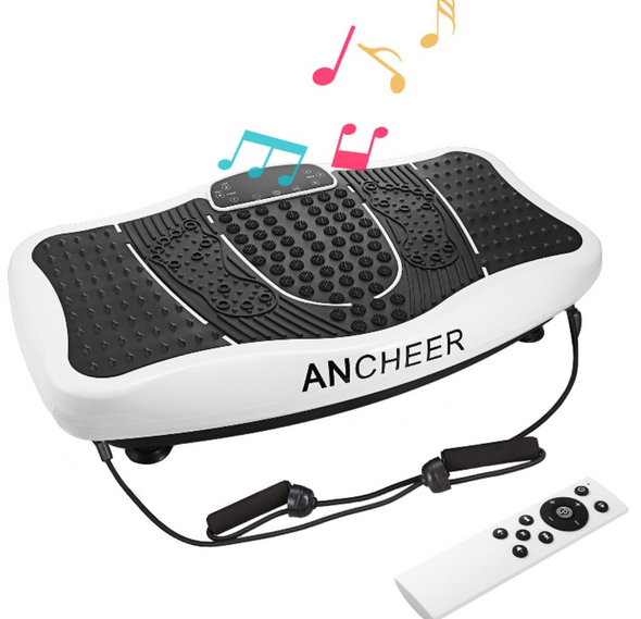 Ancheer Built-in USB Speaker Fitness Whole Body Shaped Vibration Platform Machine with Resistance Bands and Remote Control Included