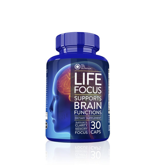 Brain Booster Nootropic Supplement By All Life Nutrition Focus, Memory, and Clarity Enhancer - Brain Supplement with Ginkgo Biloba, Saint John's Wort, Bacopa Monnieri and More, 30 Mental Energy Pills