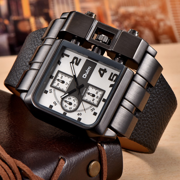 Oulm 3364 Fashion Casual Men Watch Big Size Square Face Decorative Small Dials Wide Strap Wristwatch Male Sport Luxury Watches