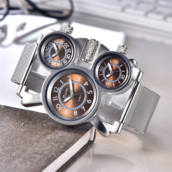 Oulm 1167 Men Watch Mesh Steel Casual Sport Watches Three Time Zone Unique Male Quartz Clock Military Watch