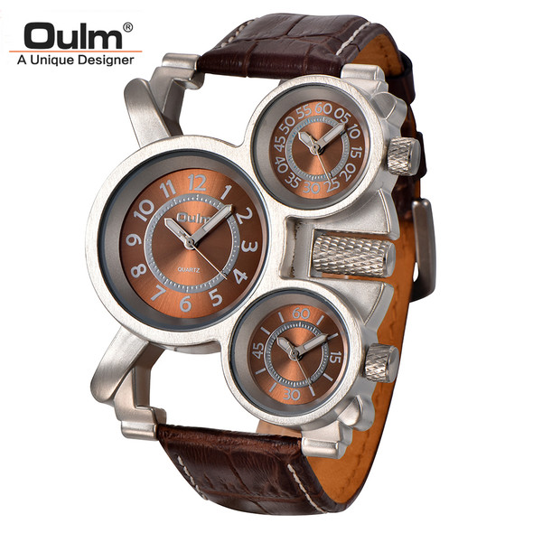 Oulm Mens Watches Top Brand Luxury Famous Tag Men's Military Wrist Watch 3 Time Zone Male Clock Leather Quartz Watch Man