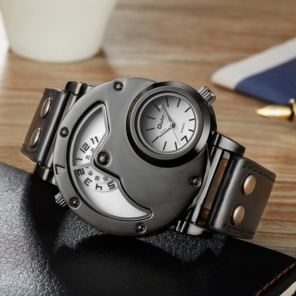 OULM Brand Luxury Brand Watches Men Army Military Dual Time Movement Mens Leather Starp Quartz Wrist Watch