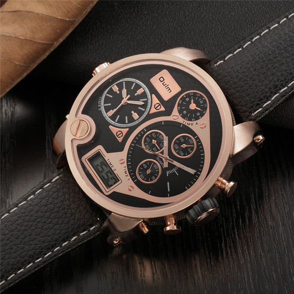 Oulm Dual Display Wristwatches Digital Analog Male Leather Quartz-Watch Big Dial Watches for Men Military relogio