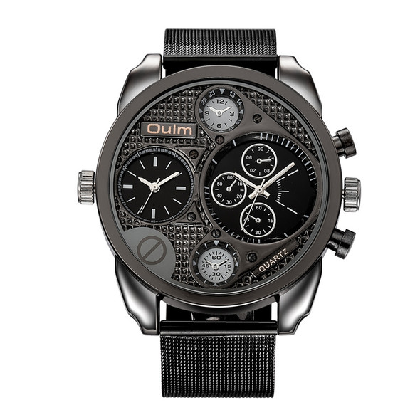 Luxury Brand Oulm Watches Men Mesh Steel Genuine Leather Quartz Watch Big Design Male Casual Military Wristwatch