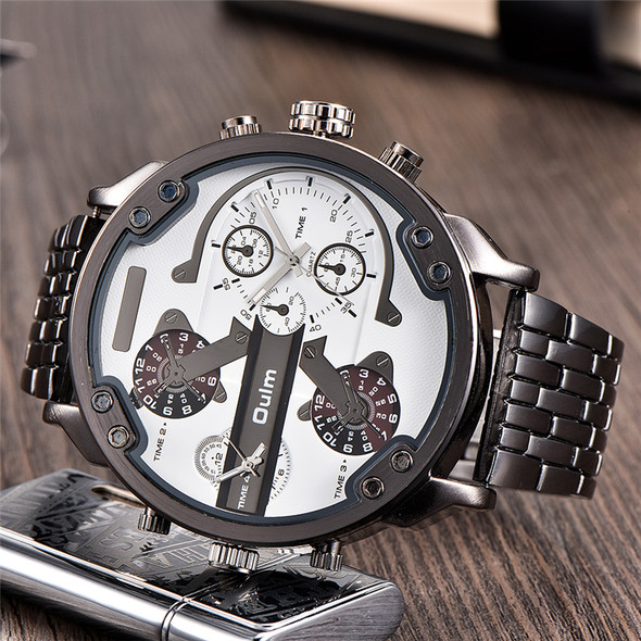 Oulm Huge Two Time Zone Men's Watches Top Luxury Brand Male Quartz Big Size Watch Individuality Large Men Military Wristwatch