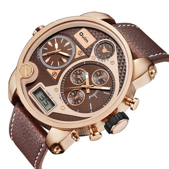 Oulm Dual Display Big Wristwatch Digital Analog Watches Men Luxury Brand Large Dial Military Male Clock