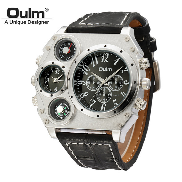 Oulm Large Big Dial Luxury Mens Sports Watches Male Quartz Watch PU Leather Strap Wristwatch