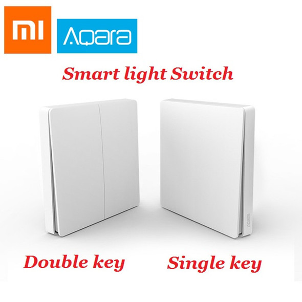 Original Xiaomi Aqara Wall Switch Smart Light Control Switch ZigBee Version Single Double Key Smartphone APP Remote smart home