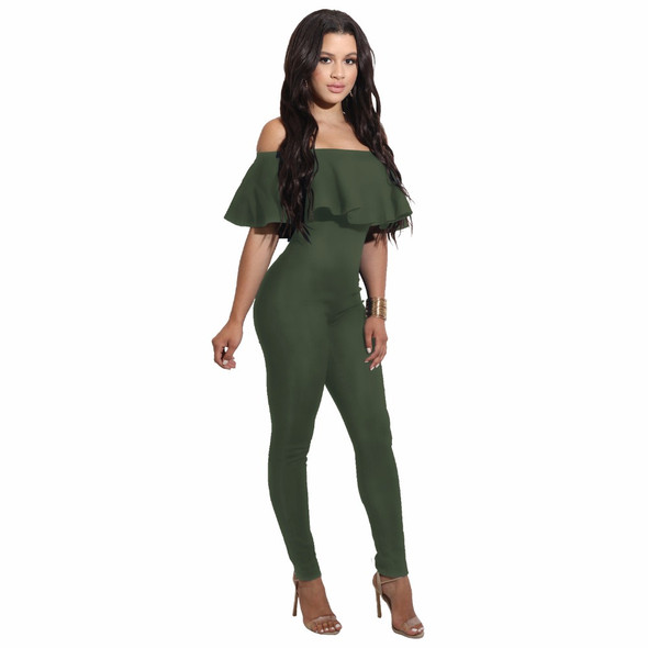 Black white Sexy Elegant Party Ruffle Bodysuit Off Shoulder Backless Bodycon Rompers Womens Jumpsuit Summer Casual Overalls
