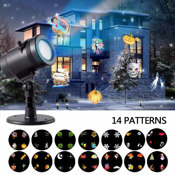 IP65 Christmas Decorations,LED Outdoor Holiday Projector Lights with 14 Pattern Lens Snowflakes for Wedding Holiday Decor Lamp