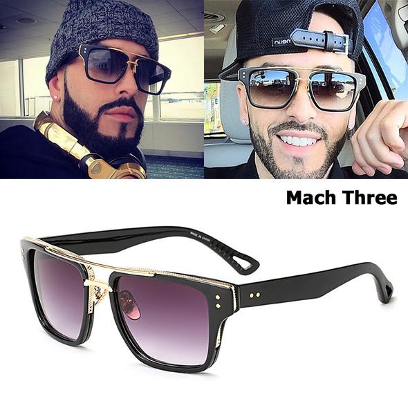 Fashion Men Three Sunglasses Brand Design Square Frame Vintage Retro Luxury