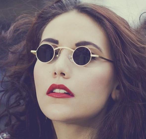 New Fashion Gothic Steampunk Small Round Sunglasses Brand Design Vintage Retro Sun Glasses