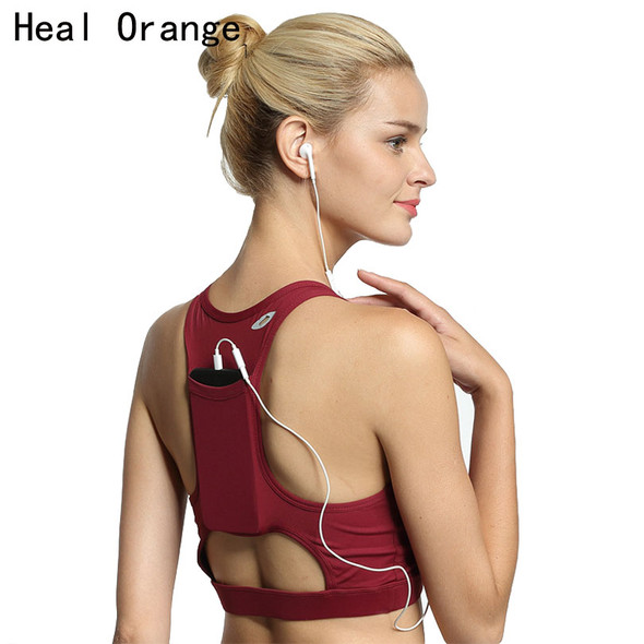 Back Pocket High Quality Shock Sports Bra Women Shakeproof Yoga Bras Full Cup Fitness Bras Gym Sport Top Underwear