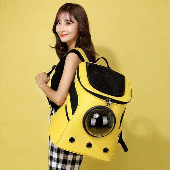 new space capsule pet bag cat puppy with backpack breathable out convenient space bag pet PU leather handbag
