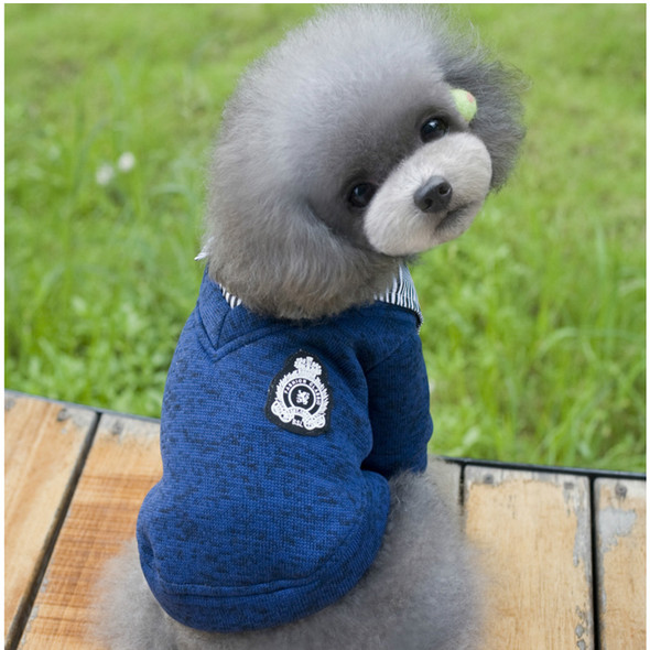 Dog clothes dog clothing autumn and winter Teddy Korean lapel legs sweater grey blue two-color cat warm sweater S-XXL