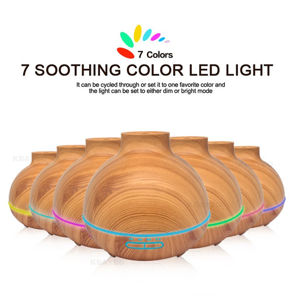 400ml Ultrasonic Aromatherapy Diffuser Wood Grain Ultrasonic Humidifier for Office Home Bedroom Living Room