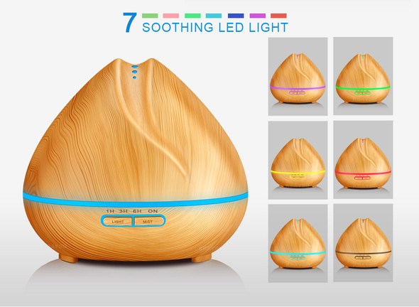 400ml Air humidifier Aroma Essential Oil Diffuser Ultrasonic Air Humidifier Wood Grain LED Light cool mist maker for Home