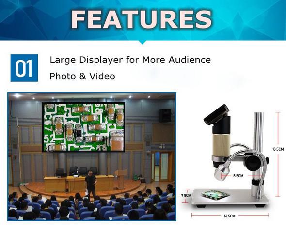 HDMI 10-300X LED Illuminant 3.0-Inch Screen Multi Functional Circuit Board Maintenance USB/AV Digital Monocular Video Microscope