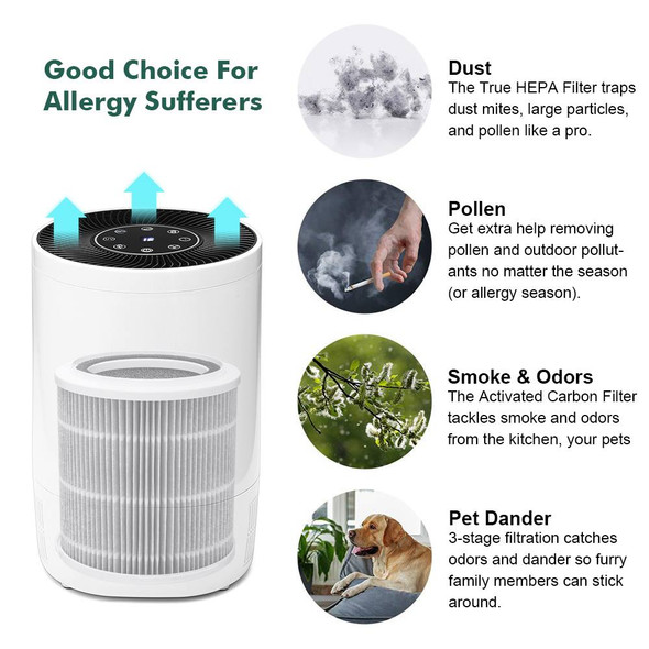 New Air Purifier With True HEPA Filter Large Room Air Cleaner Remove Formaldehyde Smoke Dust Odor Purification Air Purifier