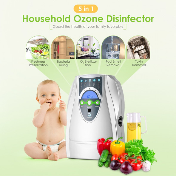 Air Purifier Ozone Generator Household Portable Ozone Disinfector for Fruit Vegetable air water Sterilization with EU/US Plug
