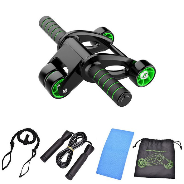4 In 1 Roller Jump Rope Abdominal Wheel Ab Roller with Mat For Exercise Fitness Equipment Accessories Body Building
