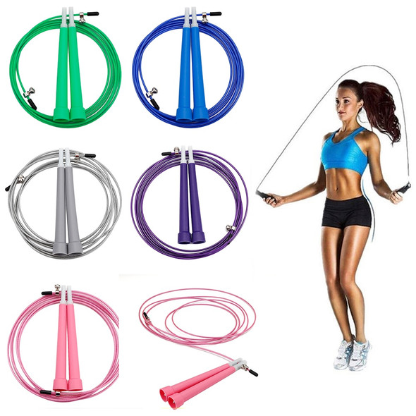 1PC 3M Single Skipping Rope Adjustable Jumping Rope Speed Cable Jump Rope Wire 5 Colors Optional Metal Boxing Gym Euipment