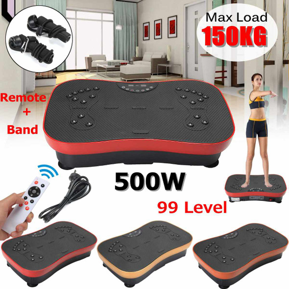 Exercise Fitness Slim Vibration Machine Trainer Plate Platform Body Shaper with Resistance Bands for Home