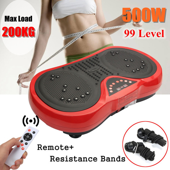 Exercise Fitness Slim Vibration Machine Trainer Plate Platform Body Shaper with Resistance Bands+ remote control